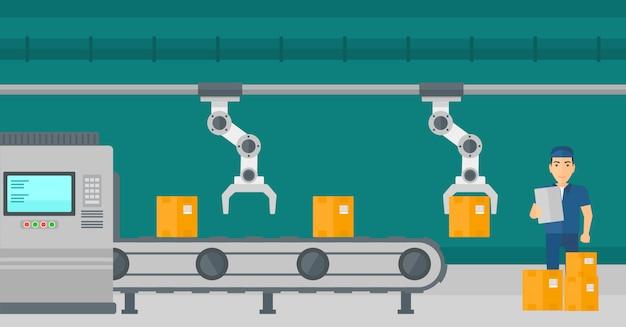 Robotarm die aan productielijn werkt. Premium Vector