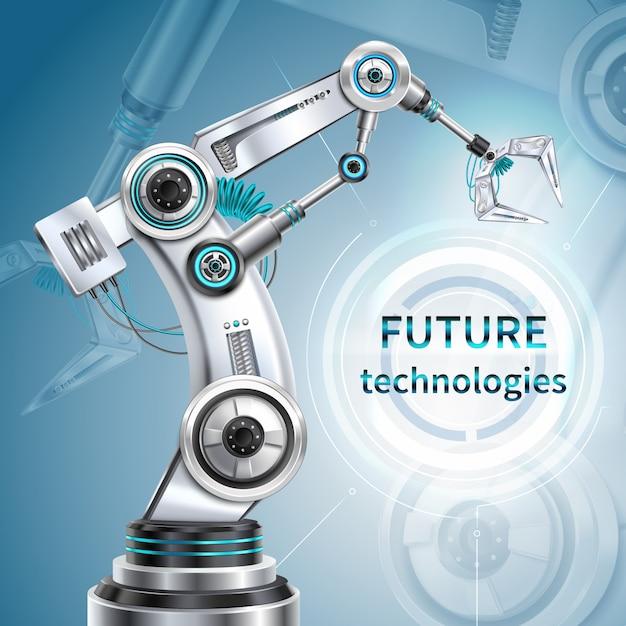 Robotarm realistische poster met toekomstige technologie symbolen Gratis Vector