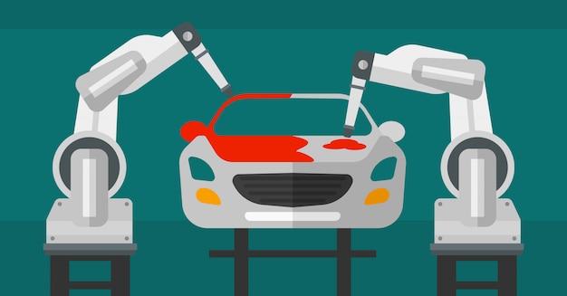 Robotarm schilderij auto in een productielijn. Premium Vector