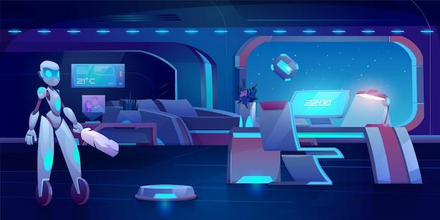 Robotassistent, automatische stofzuiger en glazenwasser in futuristische slaapkamer met neon gloeiend meubilair 's nachts. Gratis Vector