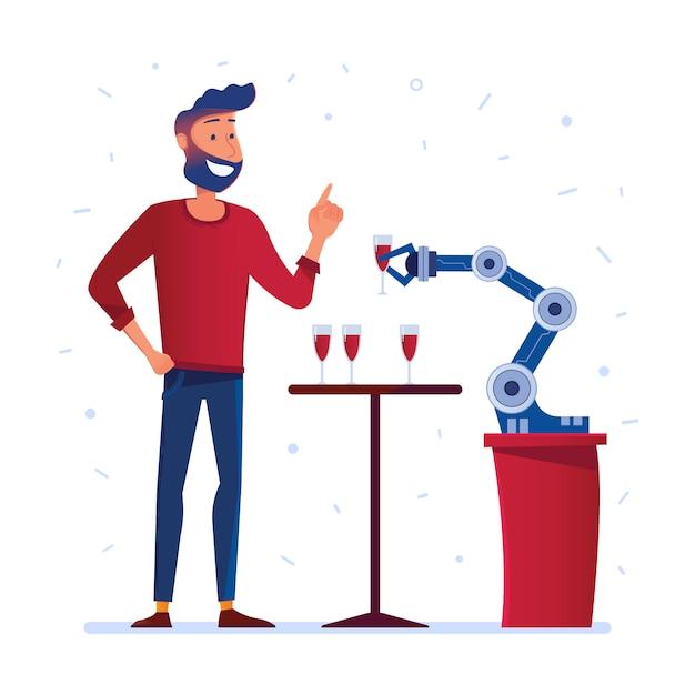Robotic hand serveert wijn aan een man Premium Vector