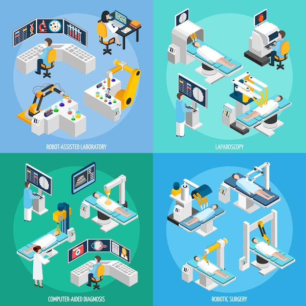 Robotic surgery isometric design concept Gratis Vector