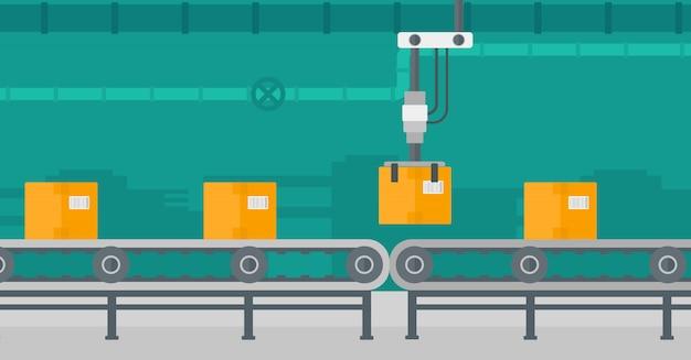 Robotic verpakkingstransportband. Premium Vector