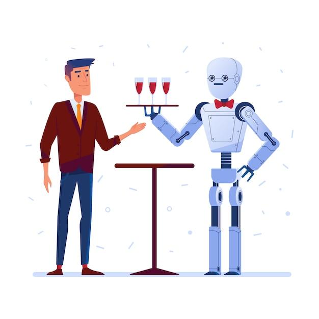 Robotkelner serveert wijn aan een man Premium Vector