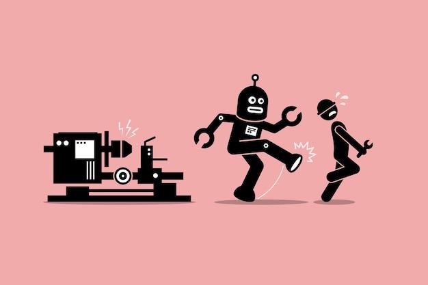 Robotmonteur schopt een menselijke technicus weg van zijn werk in de fabriek. Premium Vector