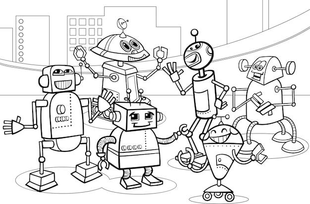 Kleurplaten Robots Afdrukken.Robots Groep Cartoon Kleurplaat Vector Premium Download