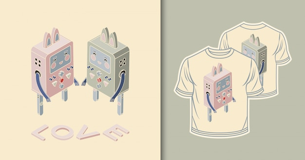 Robots - konijnen. isometrisch ontwerp Premium Vector