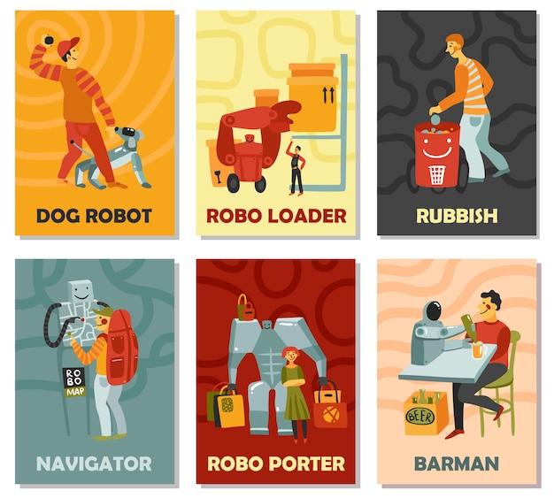 Robots met takenhond, vuilnisbak, navigator, barman, portier, verticale kaarten op kleurenachtergrond geïsoleerde vectorillustratie Gratis Vector