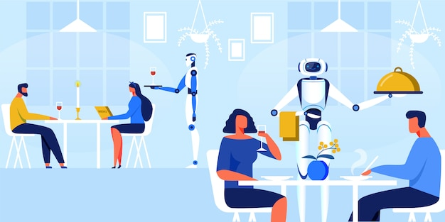 Robotskelers in de vectorillustratie van het restaurant. Premium Vector