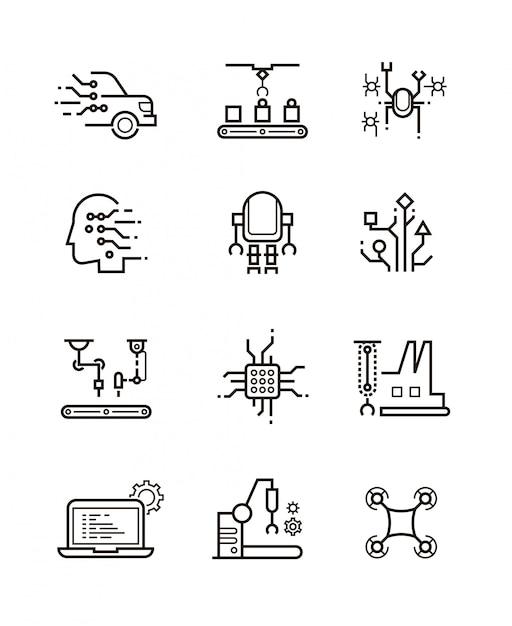 Robottechnologie en robotachtige machines lijn pictogrammen. Premium Vector