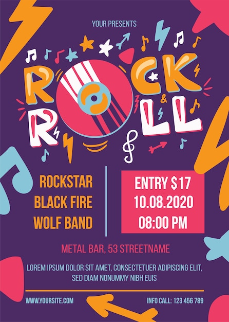 Rock and roll feest poster sjabloon Premium Vector