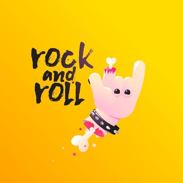 Rock and roll. hand toont teken van de hoorns met botten en bloed. Gratis Vector