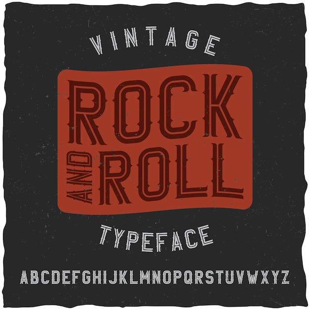 Rock and roll label lettertype. goed te gebruiken in elk vintage labelontwerp. Gratis Vector