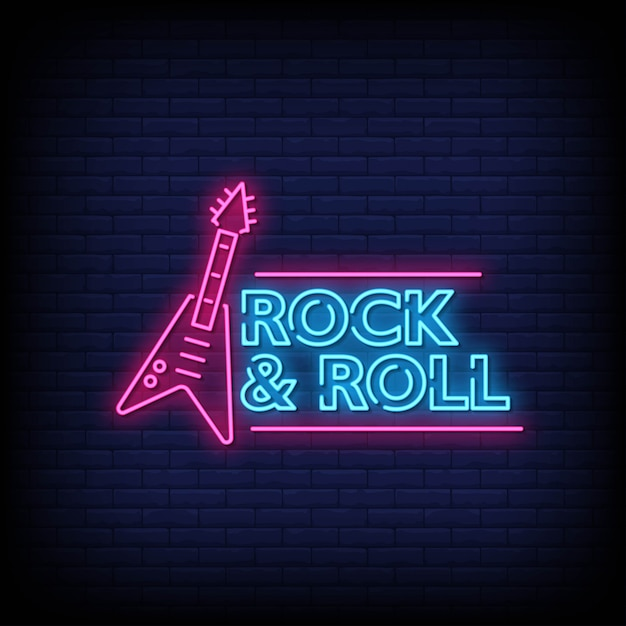 Rock and roll neon signs style text Premium Vector