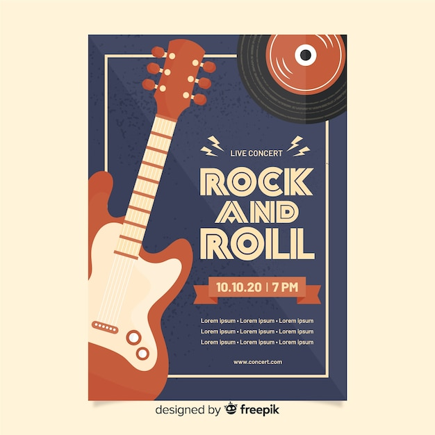 Rock and roll retro poster sjabloon Gratis Vector