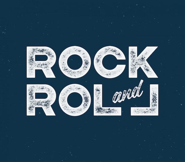 Rock and roll t-shirt en kledingontwerp met met getextureerde lett Premium Vector