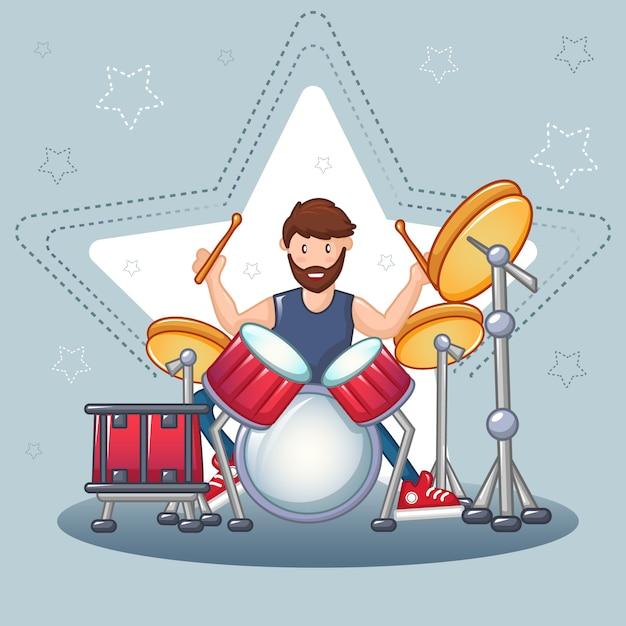 Rock drummer concept, cartoon stijl Premium Vector