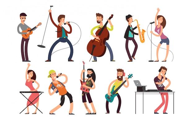 Rock en pop muzikanten vector stripfiguren. jonge gitaristen, drummers en zangers artiesten geïsoleerd Premium Vector