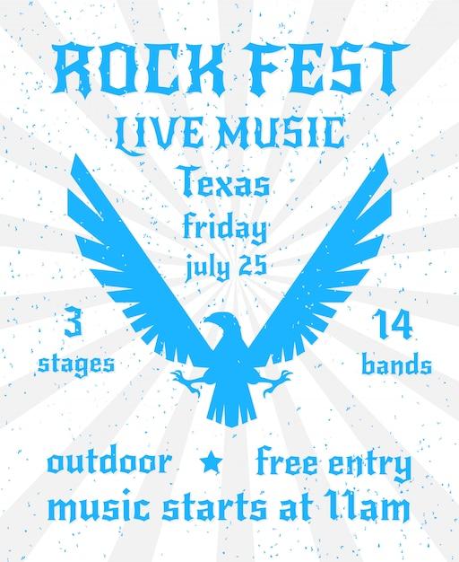Rock fest live muziek poster sjabloon met adelaar ontwerp Gratis Vector