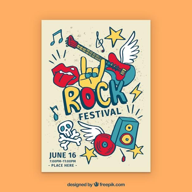 Rock festival poster met hand getrokken stijl Premium Vector