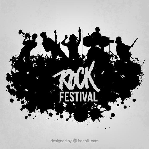 Rock live op het podium vector silhouet Gratis Vector
