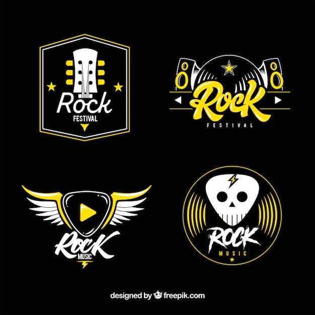 Rock logo collectie met plat ontwerp Gratis Vector