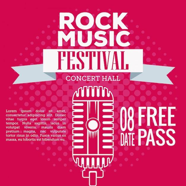 Rock musica festival flyer Premium Vector