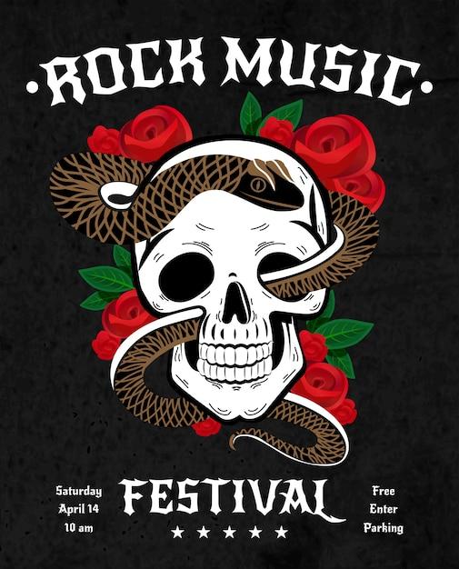 Rock muziek festival poster Gratis Vector