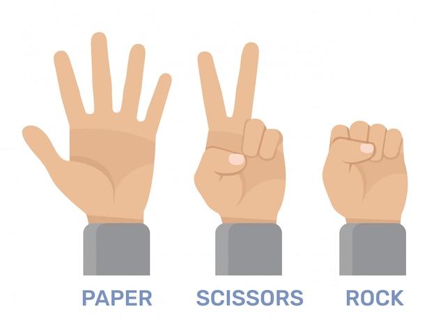 Rock, schaar, papieren handspel Premium Vector