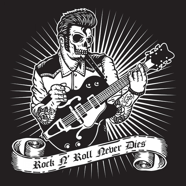 Rockabilly-gitarist Premium Vector