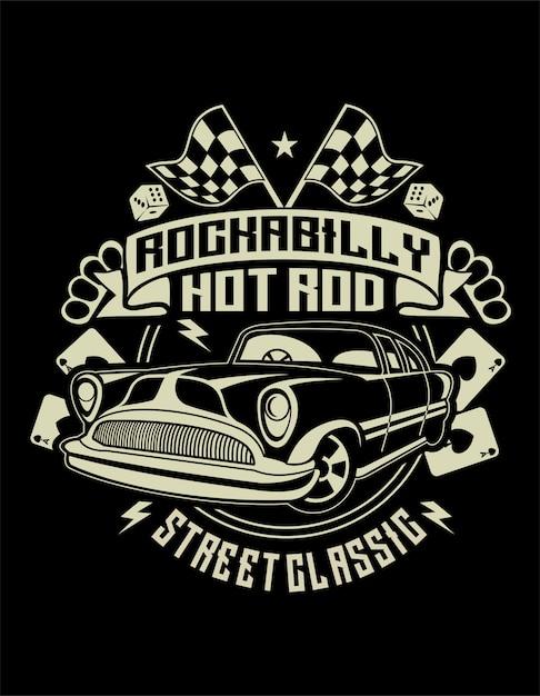 Rockabilly hotrod Premium Vector