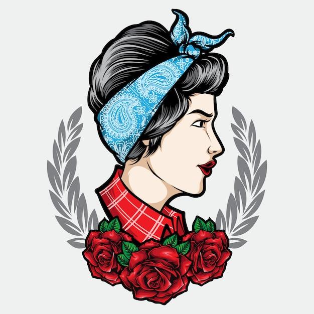 Rockabilly-meisje met de illustratie van de ornamenttatoegering Premium Vector