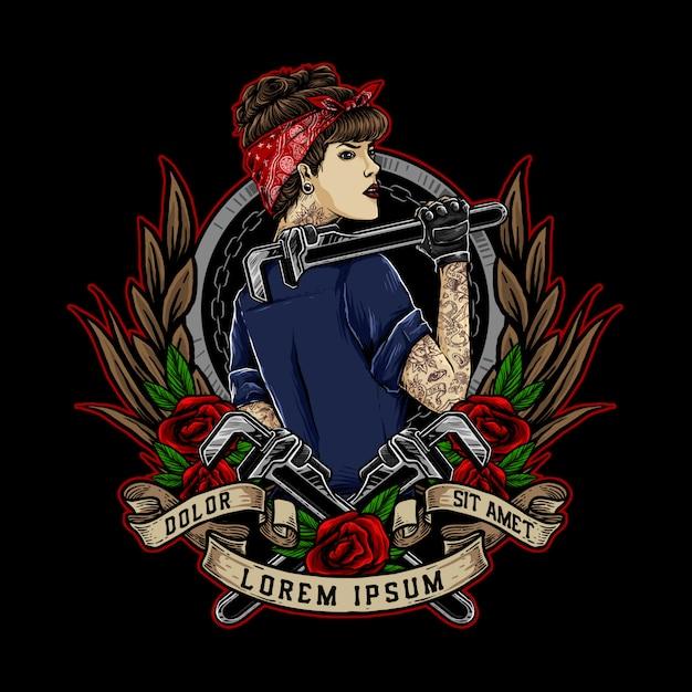 Rockabilly-meisje of pin-upgirl houdt de moersleutel vast en draagt een rood bandana-logo Premium Vector