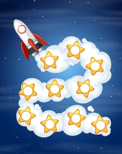 Rocket space game template Gratis Vector