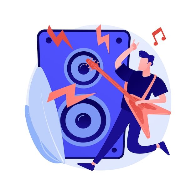 Rockmuziek abstract begrip vectorillustratie. rock-and-roll-concert, rockmuziekfestivalcultuur, platenwinkel, live optreden, garage-opnamestudio, abstracte metafoor voor bandrepetitie. Gratis Vector