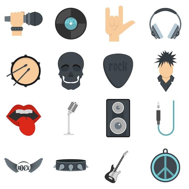 Rockmuziekpictogrammen die in vlakke stijl worden geplaatst Premium Vector