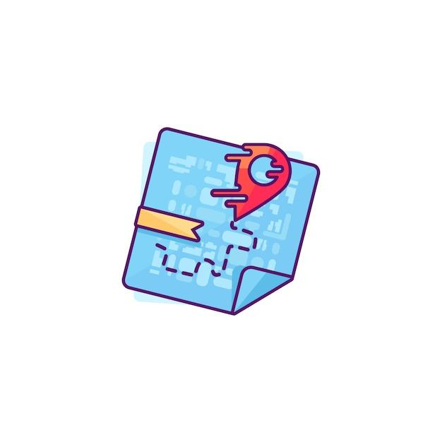 Rode aanwijzer op de kaart Premium Vector