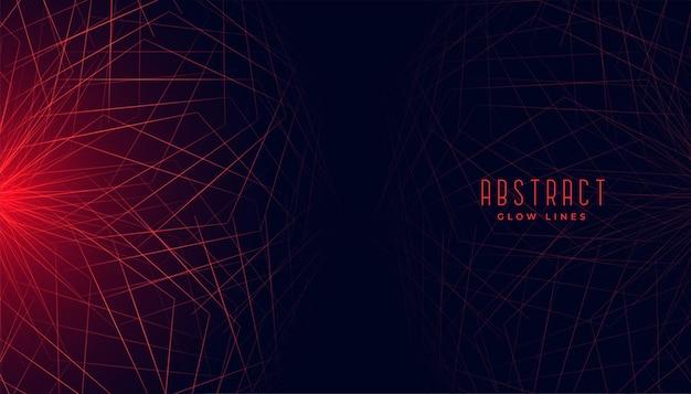 Rode abstracte geometrische lijnen gloeiende achtergrond Gratis Vector