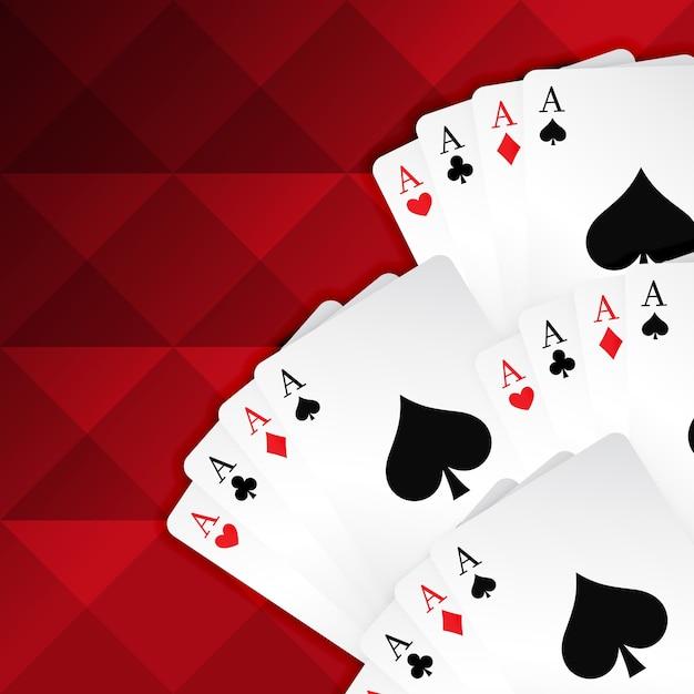 Rode achtergrond met speelkaarten Gratis Vector
