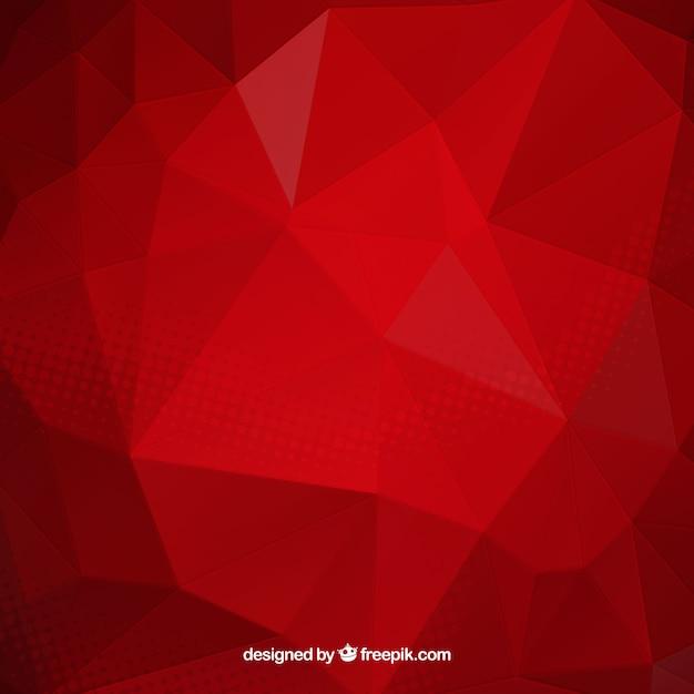 Rode achtergrond met veelhoekige vormen Gratis Vector