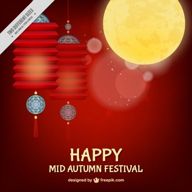 Rode achtergrond van de mid-autumn festival met lantaarns versierde Gratis Vector