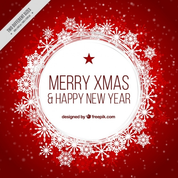 Merry En: Rode Achtergrond Van Merry Christmas En Nieuwjaar Met