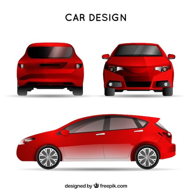 Rode auto in verschillende uitzichten Gratis Vector