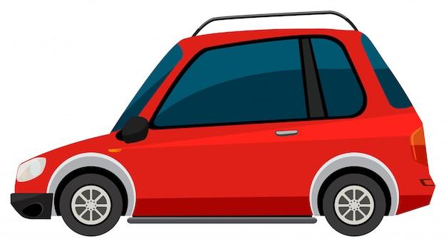 Rode auto op witte achtergrond Gratis Vector
