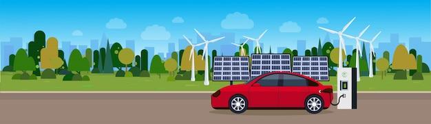 Rode auto opladen op elektrische station wind trurbines en zonnepaneel batterijen achtergrond eco vriendelijke vechicle concept Premium Vector