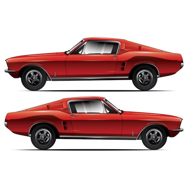 Rode auto zijaanzicht Premium Vector