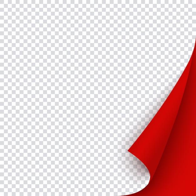 Rode banner sjabloon met gekrulde hoek. vierkant gebogen papierpagina voor kerstverkoop, promo of flyer, lege rode sticker voor memo, notities en post. Premium Vector