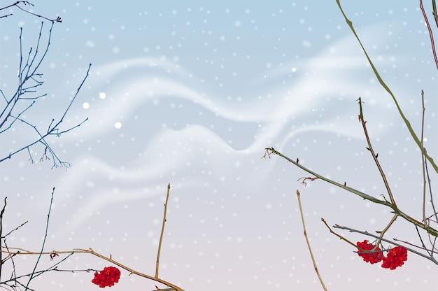 Rode bessen en takken van lijsterbes op achtergrond van de winterhemel. Premium Vector