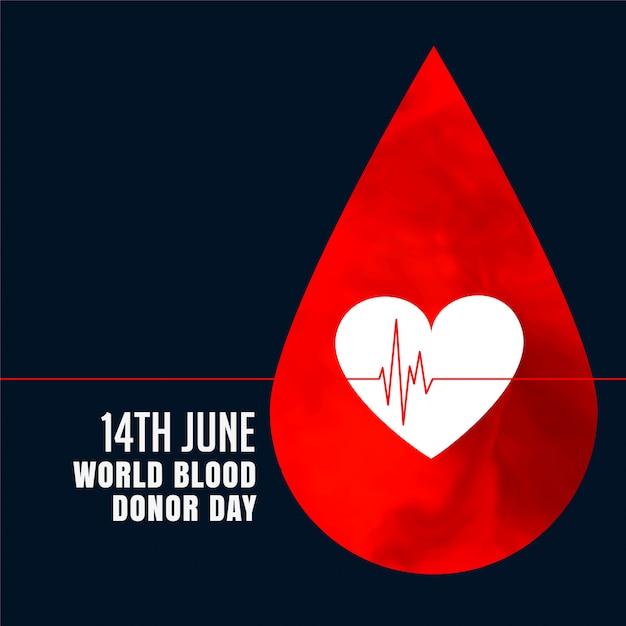 Rode bloeddruppel met hart concept achtergrond Gratis Vector