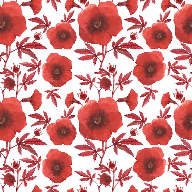 Rode bloemen naadloze patroonhybiscus Premium Vector